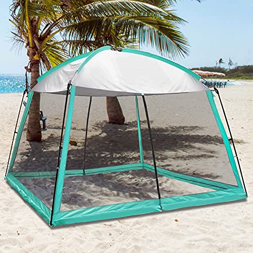 PatioBuddy Screen House 11x11 Ft Mesh Net Wall Camping Canopy Tent Shelter Gazebos, Easy Setup & Waterproof, Suitable for Patios Outdoor Camping Activities(Blue)