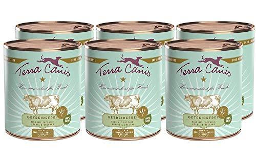 Terra Canis Getreidefreies Nassfutter I Reichhaltiges Premium Hundefutter in echter Lebensmittelqualität mit Rind, Zucchini, Kürbis & Oregano I 6 x 800g, allergenarm & glutenfrei