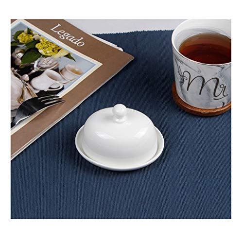 Recipiente mantequilla Redondo de cerámica mantequilla simple caja con tapa blanca pura Mantequilla Pasta Plato del condimento del plato vajilla de cocina Suministros