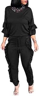 Memories Love Womens Long Sleeve Sweatsuit 2-Piece Frill Tracksuit