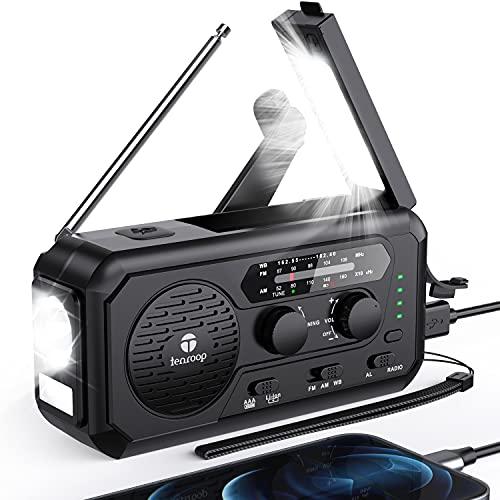 5000mAh Emergency Weather Radio, Hand Crank Solar Radio, AM/FM/NOAA Portable Battery Operated Radio with Flashlight, Reading Lamp, Headphone Jack, SOS Alarm, Cell Phone Charger