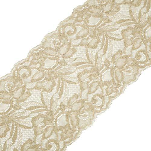 Yalulu 5 Yards Elastizität Spitzenbordüre Band DIY Handwerk Farbband mit Spitzen für Handwerk Dessous Hochzeitskleid Hochzeit Dekor 15cm Breite (Beige)