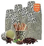 200 Vasos Cafe Desechables de Cartón para Llevar- Vasos Papel, Ecológicos y Desechable, Resistentes al Calor, Ideales para Café, Té, Cumpleaños, etc.