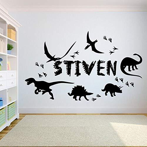 Dinosaurio pegatinas de pared niños niños dormitorio decoración del hogar jardín de infantes dibujos animados tu nombre vinilo pegatinas de pared ideas