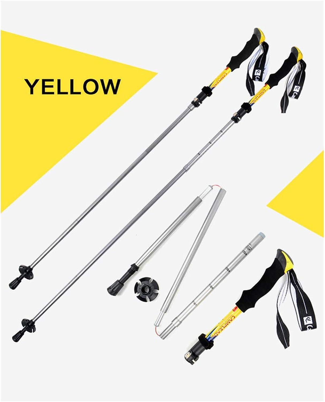 HighGrade Aluminum Trekking Pole  Trekking Pole  Adjustable with Extra Rubber Cushion and Carry Bag,Yellow,OneSize