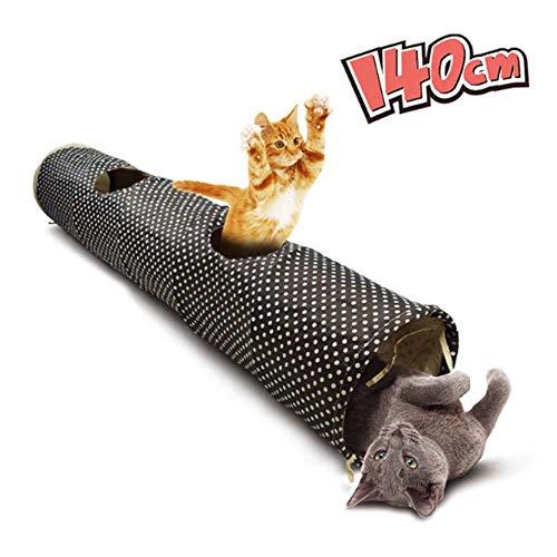 Lupeta Katzentunnel Große Katzen Faltbar Rascheltunnel Lang Spieltunnl mit Ball Katzenspielzeu Spielzeug Cat Tunnel Tube Toys für Katzen Kitten Schwarz XXL