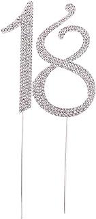 Sharplace Topper Anniversaire Mariage Chiffre Strass Cristal Brillant Décoration Pâtisserie - Argent 18