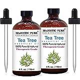 Majestic Pure Therapeurtic Melaleuca Alternifolia Tea Tree Oil with Dropper, 4 Onces. Pack of 2