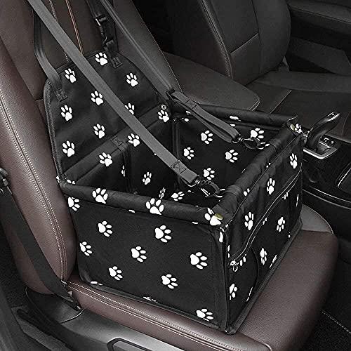 Seggiolino per auto, per animali domestici, impermeabile, con guinzaglio di sicurezza, traspirante, per cani di piccola taglia, gatti o altri piccoli animali domestici (impronta nera)