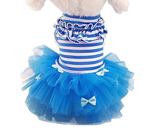Animaux Vêtements Robes Bleu Stripe Grenadine Bubble Skirt pour chiens