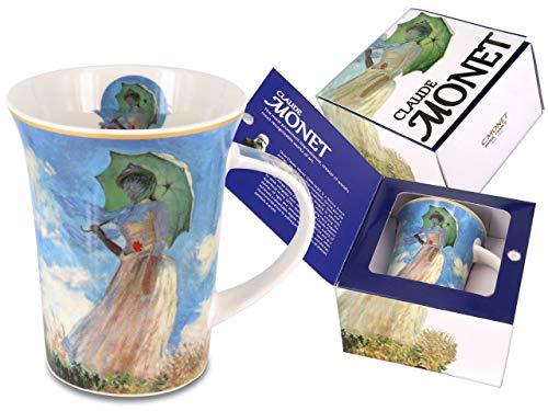 CARMANI Elegante taza de porcelana, diseño de mujer con sombrilla