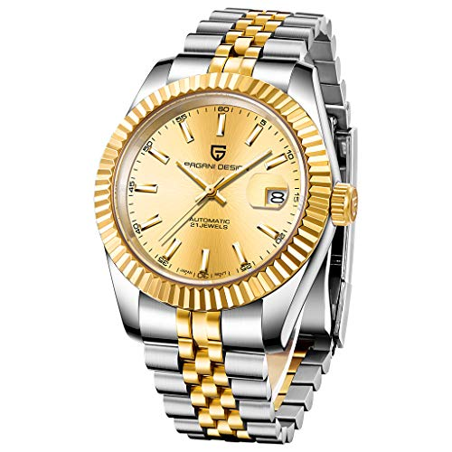 Reloj de pulsera automático para hombre, de acero inoxidable de dos tonos, resistente al agua, para hombre, analógico, reloj de pulsera mecánico