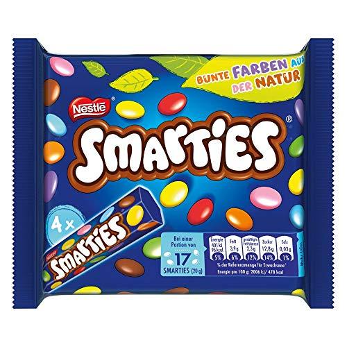 Nestlé SMARTIES kleine Rolle, bunte Schokolinsen, ideal für Kindergeburtstage, ohne künstliche Farbstoffe, Großpackung für kleine Naschkatzen, Multipack, 1er Pack (á 4 x 34g)