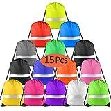 FEPITO 15 Pack Mochila con cordón Ajustable Multicolor con Tira Reflectante, Mochila con Cinch Mochila Mochila para Gimnasio Deportivo (Colorful)