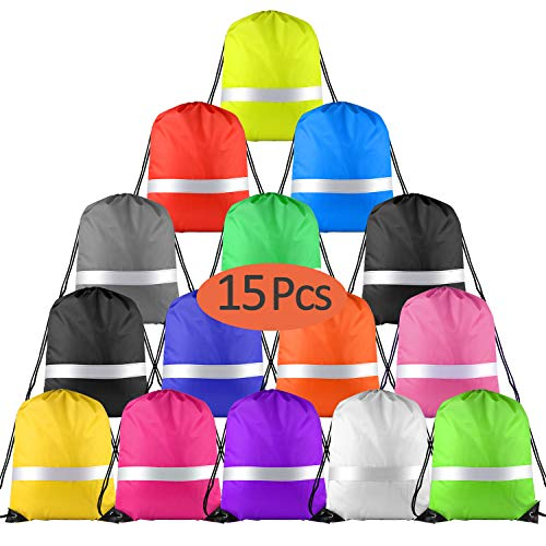 KUUQA 15 Pack Drawstring Backpack Bag with Reflective Strip, String Backpack Cinch Sack Backpack Bulk for School Yoga Sport Gym Traveling