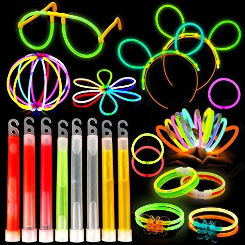 HOWAF Braccialetti Luminosi, Starlight Fluorescenti,108 Giocattoli Luminosi Glowsticks con Connettori per Creare Collana Bagliore, Palle di Fiori, Bicchieri Luminosi e bracciali Fluorescenti
