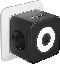 Kinglink Enchufe USB, 5 en 1 Cubo Ladron Enchufes con 3 puertos USB(3.4A max), (250V/10A) Enchufe USB Pared, Cubo Enchufe ...