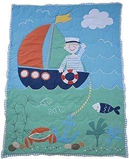 Coperta per passeggino con disegno di una barca cucito a mano di Powell Craft
