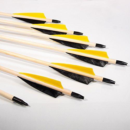 BSW - BogenSportWelt 12 Traditionelle Holzpfeile mit 4