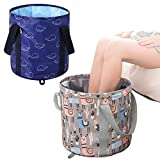 2 Pieces 25 L Collapsible Foot Basin Portable Travel Bucket Foot Bath Tub for Soaking Feet Home Pedicure Foot Spa Multifunctional Folding Water Bucket Camping, Picnic, Storage(Dark Blue, Gray)