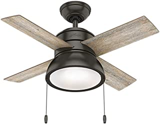 Hunter Indoor Ceiling Fan with LED Light and pull chain control - Loki 36 inch, Nobel Bronze, 59387