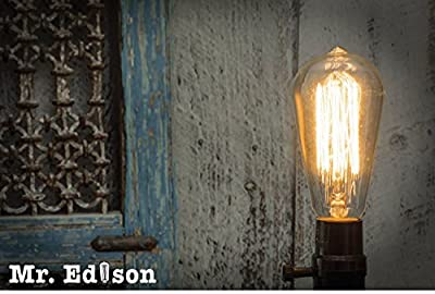 Vintage Edison Bulb - Hand Crafted Squirrel Cage Design 60w/110v Antique Style Incandescent Clear Dimmable Bulbs - 2.7 Years Life/3000+ hours - Indoor/Outdoor Use E26/E27 Base Pendant Lighting