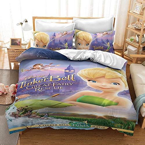 MULMF Duvet Cover Twin Bedding Collections Tinkerbell Pattern for Girls/Boys