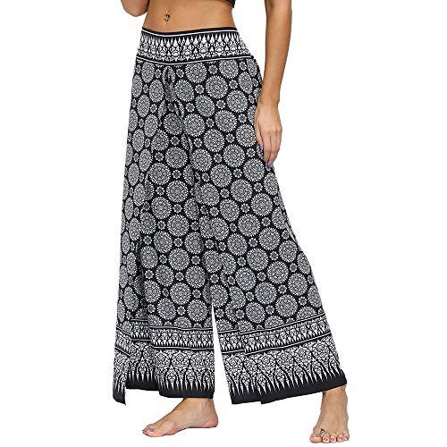 Nuofengkudu Mujer Cintura Alta Hippie Largo Pantalones Dividir Pata Ancha Boho Flores Estampados Elegantes Anchos Comodos Thai Fluidos Yoga Pants Verano Playa Vacaciones Casual(Negro B,M)