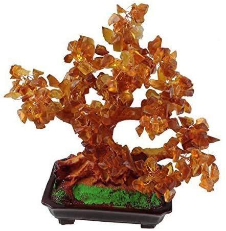 GMMH Feng Shui Suerte árbol 25 cm crásula Bonsai árbol Pfennig Piedra Oro Hecho a Mano