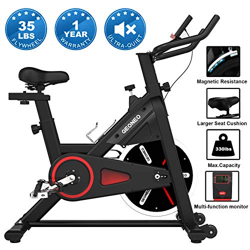GEONEO Stationary Bikes, Exercise Bike, Magnetic Silent Belt Drive Indoor Cycling Bike, 35...