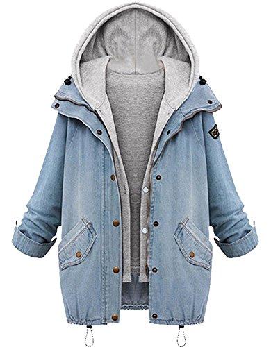 Minetom Damen Wintermantel Winterjacke Blazer Jeansjacke Parka Deinm Jeans Freizeitjacke Herbst Schick Langarmshirt Blau DE 42