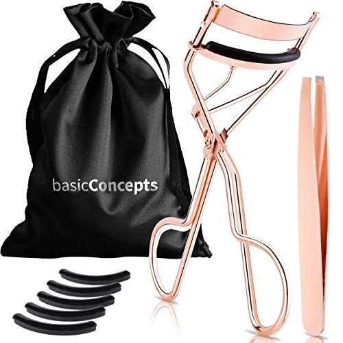 Eyelash Curler Kit (Rose Gold), Premium Lash Curler for Perfect Lashes, Eye Lash Curler with 5 Eyelash Curler Replacement Pads, Universal Eye Lashes...