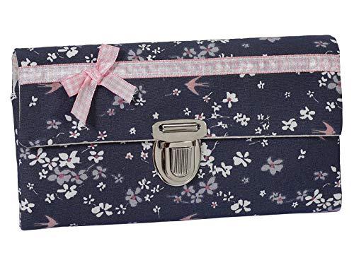 Damenbörse Damen Geldbörse Portemonnaie Stoff Blumen Rosa Grau Schleife Handmade