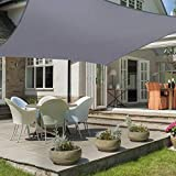 HEYOMART 3m x 3m Sun Shade Sail Square Water Resistant Outdoor Garden Patio Party Sunscreen Awning Canopy 98% UV Block With Free Rope, Grey