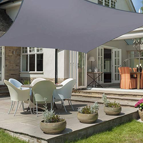 HEYOMART 2m x 3m Sun Shade Sail Rectangle Water Resistant Outdoor Garden Patio Party Sunscreen Awning Canopy 98% UV Block With Free Rope, Grey