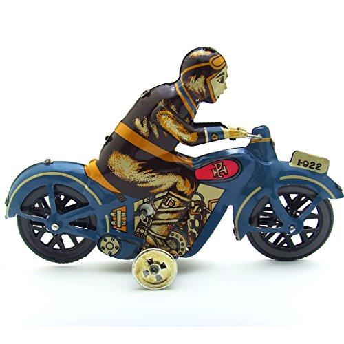 Colección Creativo de Modelo de Hombre Montando en Moto Juguetes de Hojalata Motocicleta Reloj de Metal