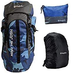 Mufubu Presents 45 Ltr Camouflage Bag || Travel Backpack || Outdoor Sport Camp Hiking Trekking Bag || Camping Rucksack with Rain Cover and Toiletry Pouch for tools and accessories. (Blue & Grey),Mufubu