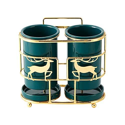 HUIJ Escurridor de Cubiertos de Cocina,Carrito de Secado portátil para Cubiertos y Utensilios,se Adapta al Soporte de cerámica para Palillos de Utensilios de Cocina (Verde Oscuro)