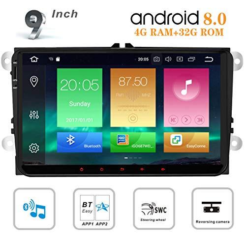 Autoradio Android 8.0 Auto GPS-radio voor VW Golf 6 Polo 5 T5 Transporter Passat Tiguan Skoda Jetta 9 inch 2 DIN Stereo met GPS-navigatie Bluetooth Video 1080p Touchscreen WiFi 4G
