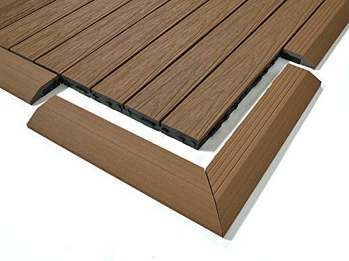 Dura Deck Fliesen Resist | 4 x Verbundfliesen-Eckrampen | solide WPC ineinandergreifend Wasser- und UV-beständig | schnelle Installation | Mahagoni