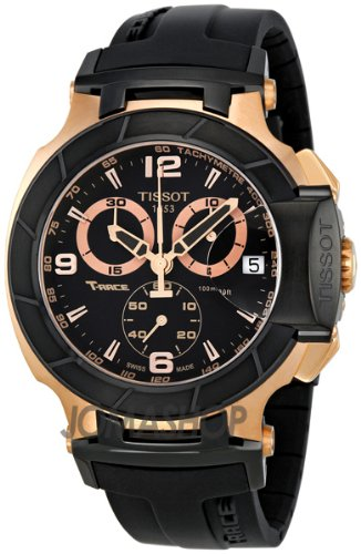Tissot Tissot T-Race Chronograph Rose Gold-Ton Schwarz Gummi Mens Watch T0484172705706