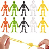 Sumind 72 Pieces Stretchy Skeletons Toys Halloween Party Favors with 6 Glitter Colors for Goodie Bags, Pinata Filler, Small Toys Classroom Prizes