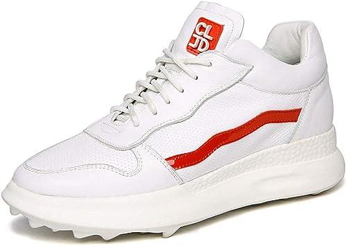 YAN Hauszapatos Deportivas de Las mujeres bajo-Top Casual zapatos de Cuero Poco Profundos zapatos de plataforma zapatos atléticos zapatos de Fitness y Cross Entrenamiento zapatos,blancoo,38