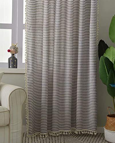 Deamos Boho Vorhänge Landhausstil Baumwolle Leinen Quaste Gardinen, Kaffee Streifen Muster Wohnzimmer Schlafzimmer Gardine,1 Stück,B150×H240cm