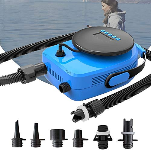 furein SUP20D 20PSI Double Stage Electric Air Pump for Inflatable SUP and Boat, New Version Intelligent Firmware with Built-in Temperature Sensor and Voltage Protection