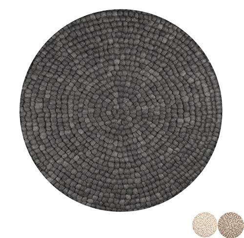 Nimara Isla Teppich rund | Filzkugelteppich aus 100% Wolle | Runder Teppich Ø 160 cm und Ø 90 cm | Wohnzimmerteppich, Kinderzimmerteppich aus Filzkugeln | Runde Teppiche (Schwarz/Grau, 90)