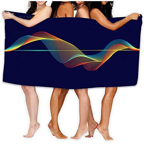 DSSYEAH Toalla de baño Toalla de Playa Colorido Ecualizador Digital Líneas de Onda Fondo Azul Oscuro Tecnología Concepto Elemento de patrón de Sonido Toallas de baño 80 X 130CM