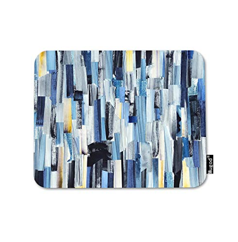 Mugod Multicolor Stripes Mouse Pad Abstract Art Geometric Creative Blue Grey White Lines Gaming Mouse Mat Non-Slip Rubber Base Mousepad for Computer Laptop PC Desk Office&Home Working 9.5x7.9 Inch