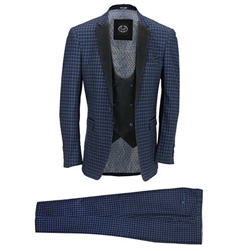 3 Piezas De Juego De Los Hombres Azul Marino Negro Compruebe Elegante Chaqueta A Medida Fit Vendimia Chaleco Pantalones [SUIT-2717-185-NAVY-46UK]