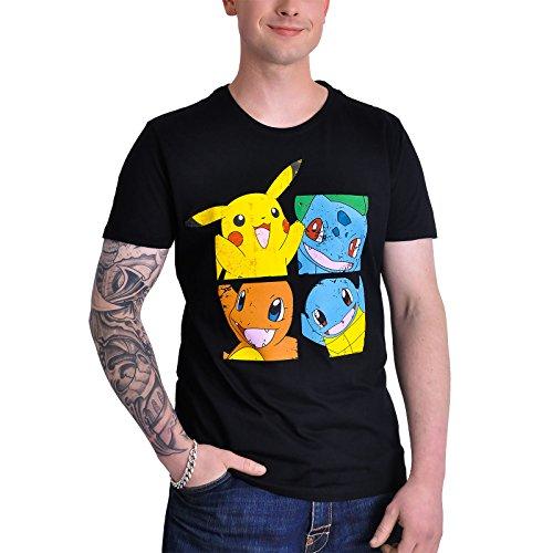 T-shirt Pokemon personnages anime coton noir - S